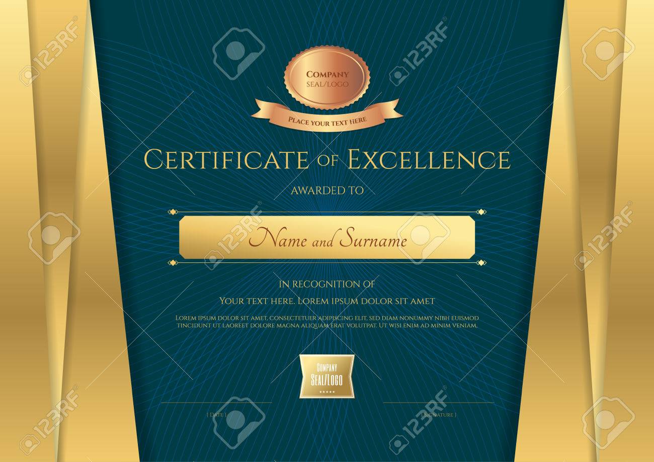 Luxury Certificate Template With Elegant Golden Border Frame ...