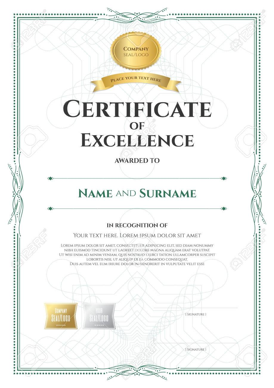 Portrait Certificate Of Excellence Template With Award Ribbon