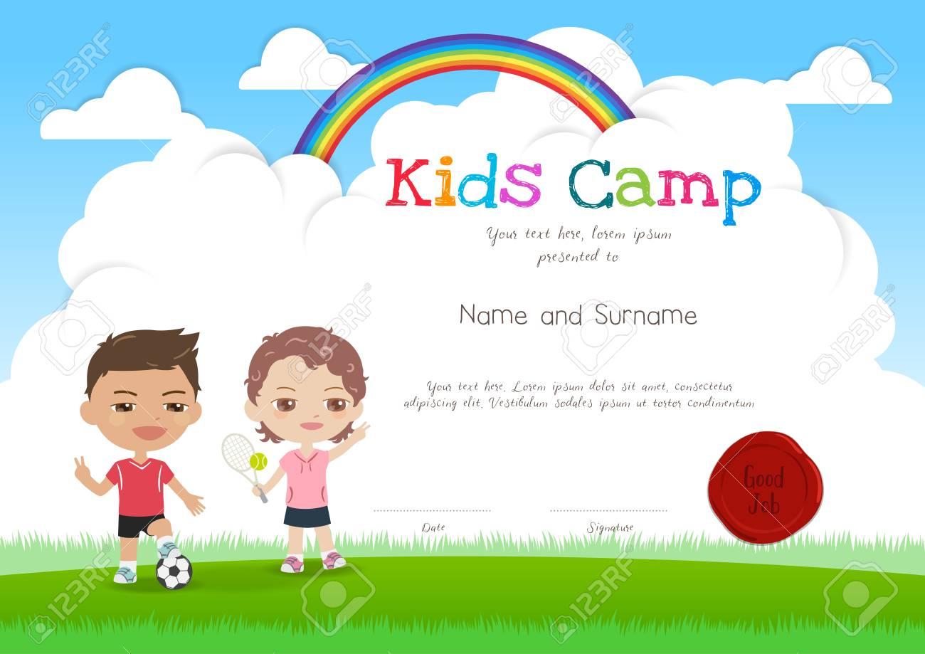 Bunte Kinder Sommerlager Diplom Zertifikat Vorlage Im Cartoon-Stil ...
