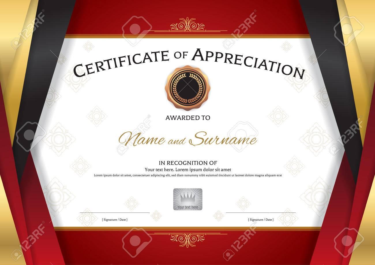 Plantilla De Certificado De Lujo Con Elegante Marco Rojo Dorado De ...