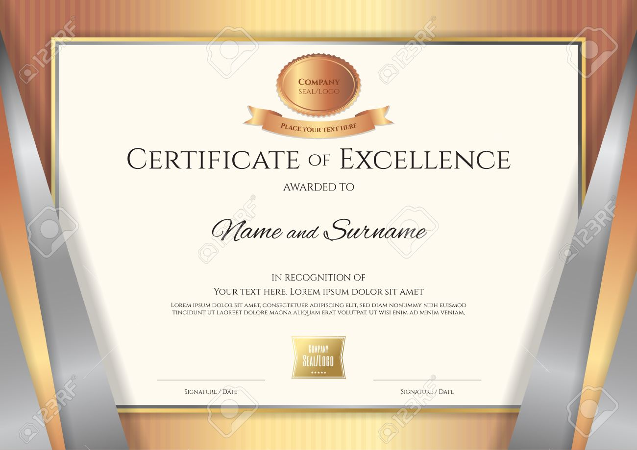 Luxury certificate template with elegant golden bronze border luxury certificate template with elegant golden bronze border frame diploma design for graduation or completion yadclub Choice Image