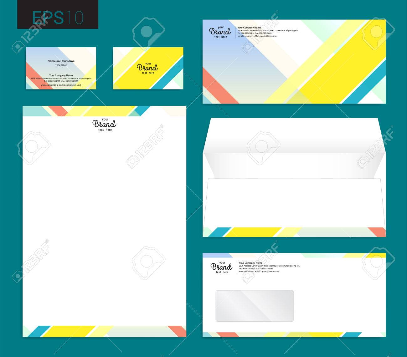 Modern Stationery Set In Vector Format, Letterhead, Business ...