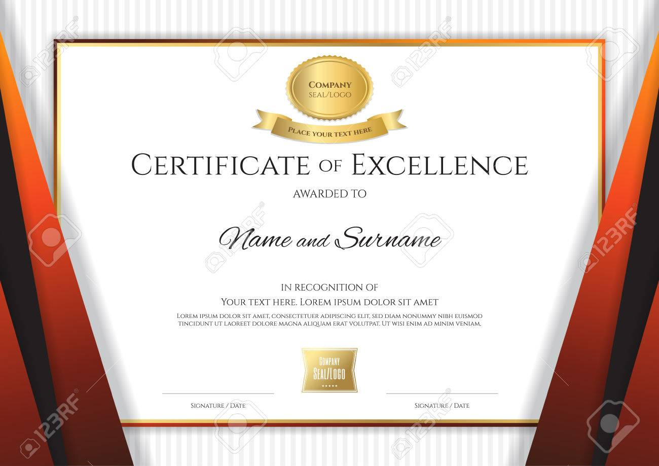 Luxury certificate template with elegant black orange border luxury certificate template with elegant black orange border frame diploma design for graduation or completion yadclub Images