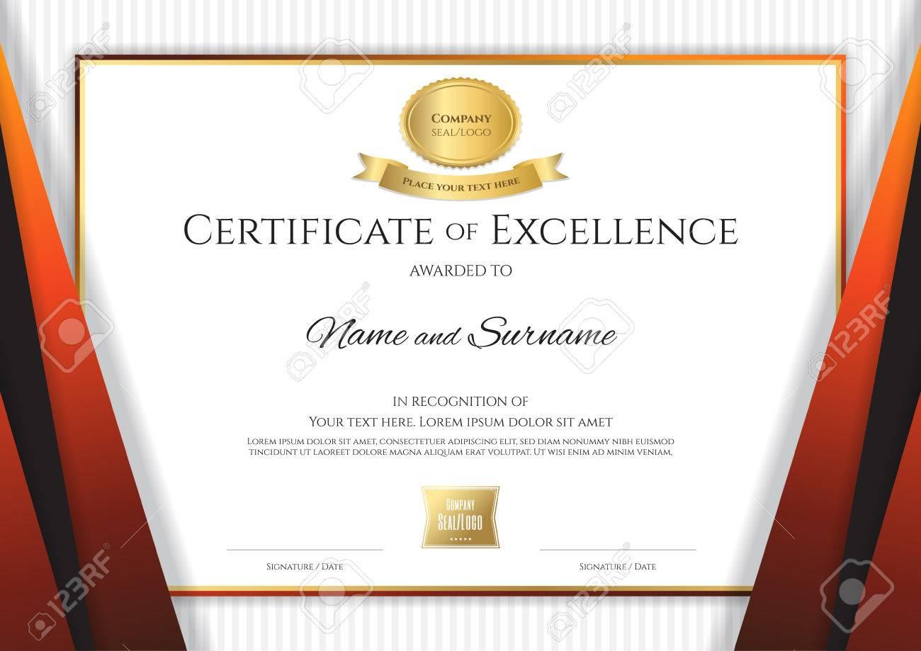 Plantilla De Certificado De Lujo Con Elegante Marco De Borde Naranja ...