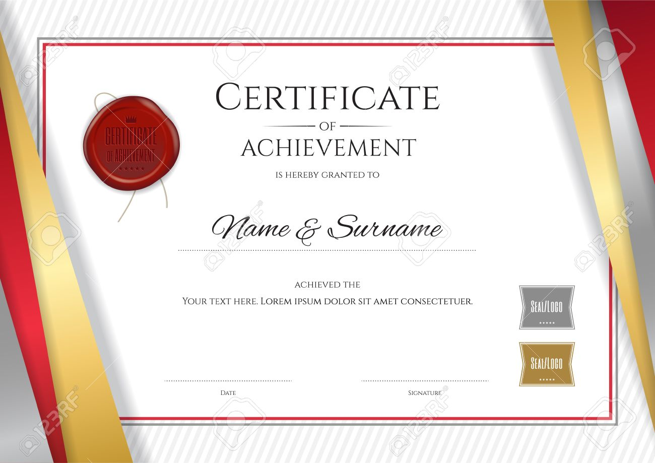 luxury certificate template with elegant golden border frame diploma design for graduation or completion stock