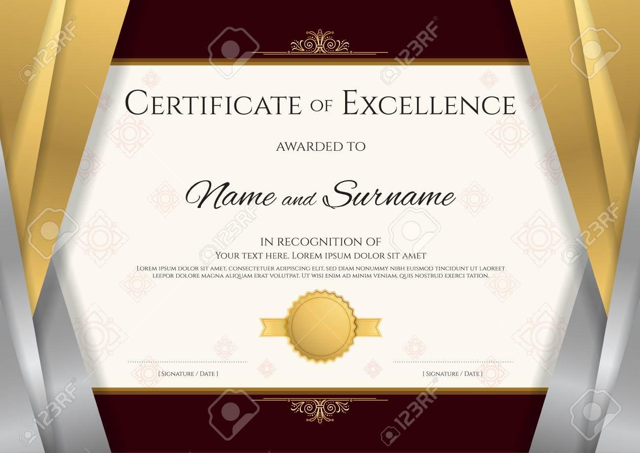 Plantilla De Certificado De Lujo Con Elegante Marco De Borde De ...