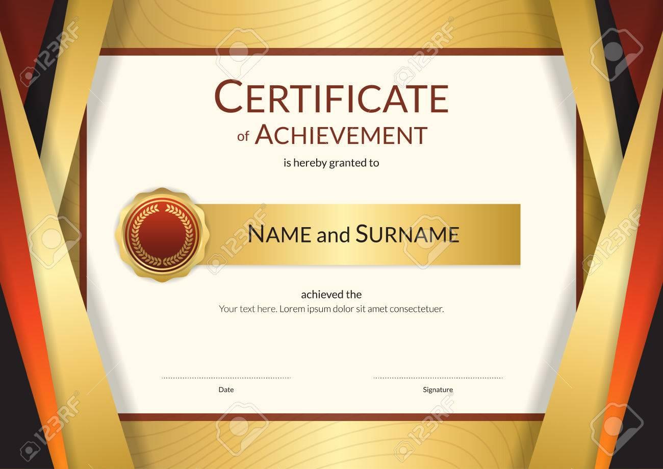 Luxury Certificate Template With Elegant Golden Border Frame ...