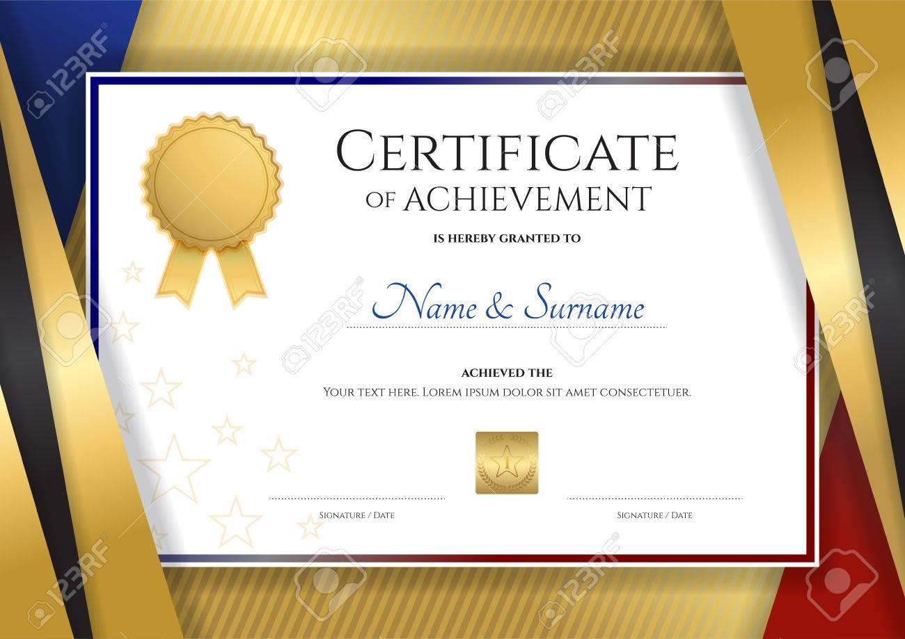 Plantilla De Certificado De Lujo Con El Marco De Oro Elegante De La ...