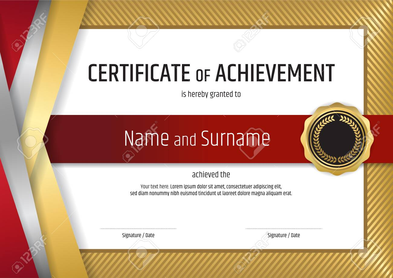 Luxury certificate template with elegant golden border frame,