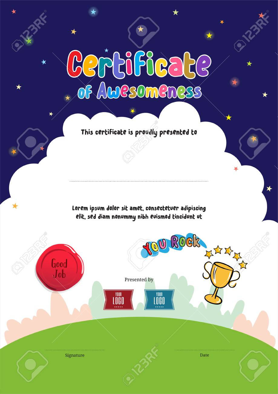 Kids Diploma Or Certificate Of Awesomeness Template With Cartoon ...