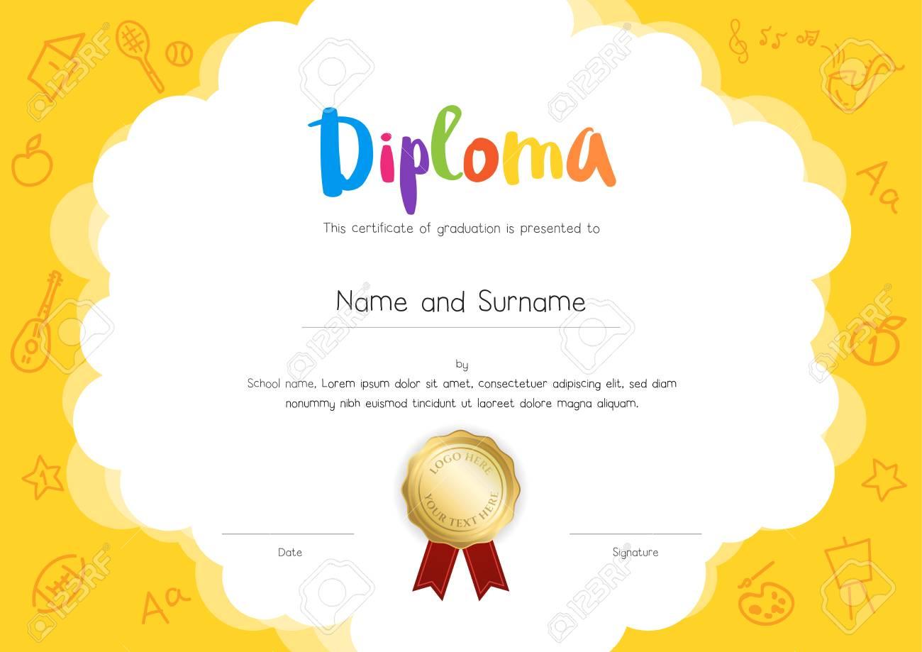 Diploma De Niños O Plantilla De Certificado Con Fondo De Estilo De ...