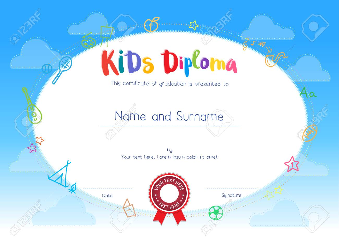 Kids Diploma Or Certificate Template With Cartoon Style Background ...