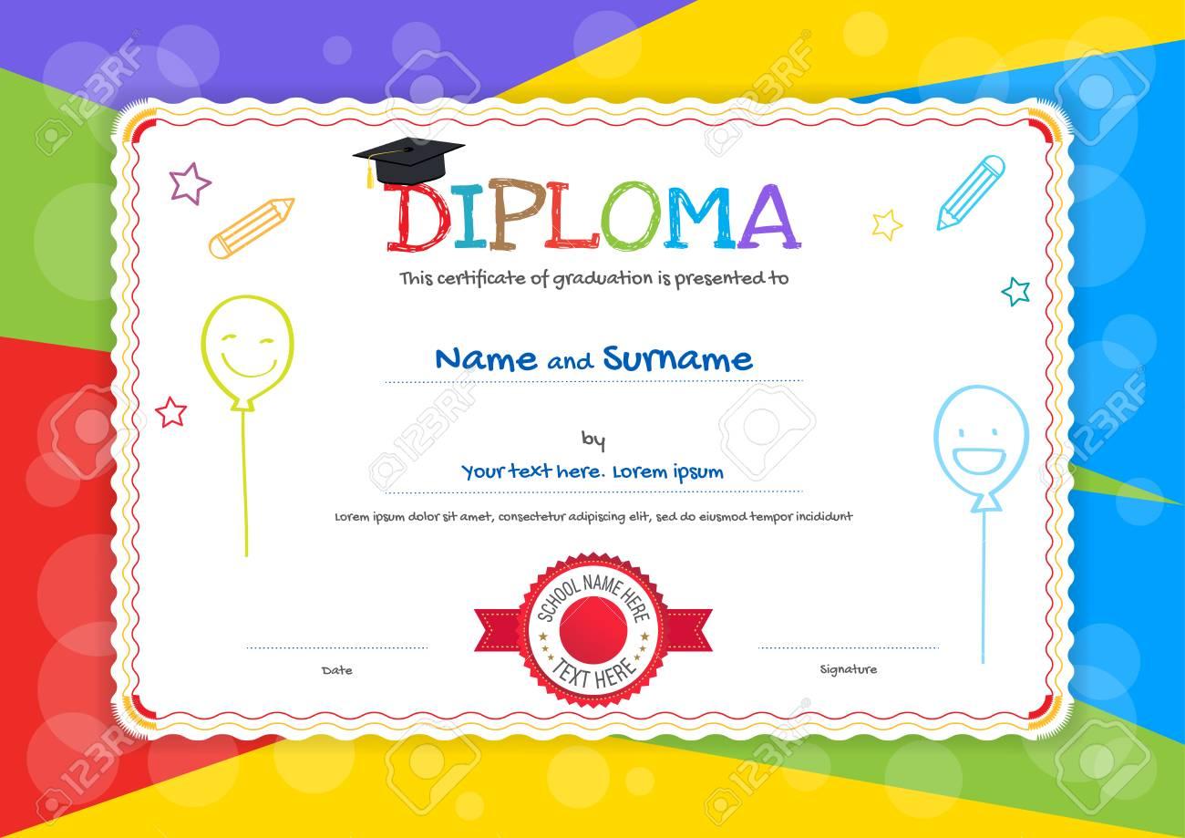 Niños Diploma O Plantilla De Certificado Con Fondo De Estilo De ...