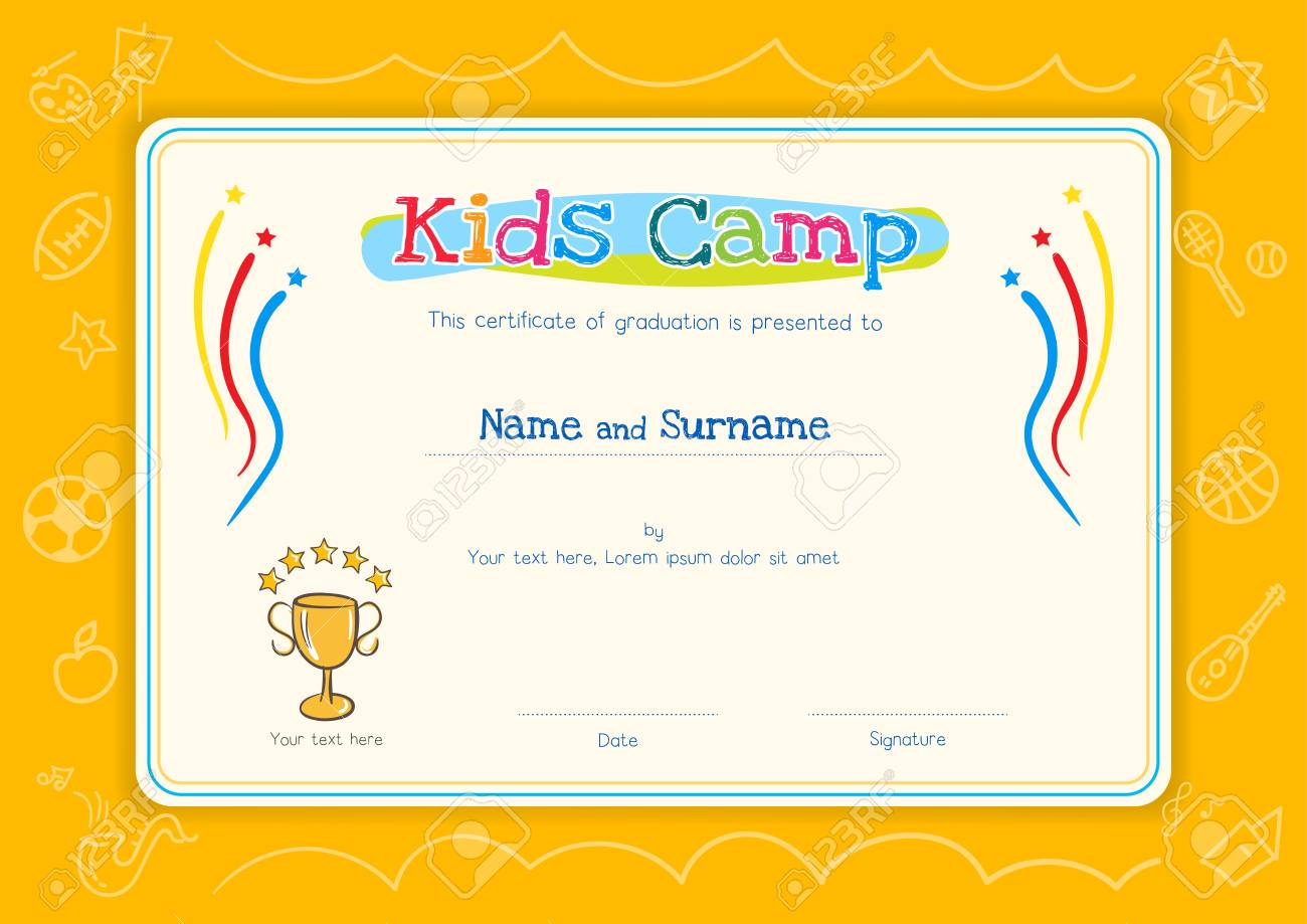Kids diploma or certificate template for kids camp with hand kids diploma or certificate template for kids camp with hand drawing cartoon style background stock xflitez Gallery