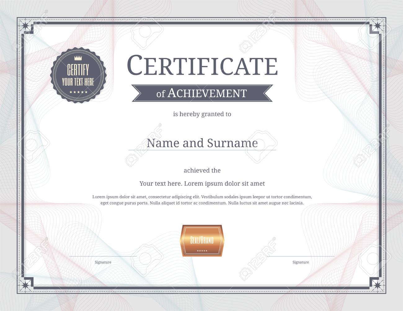Luxury certificate template with elegant border frame diploma luxury certificate template with elegant border frame diploma design for graduation or completion banque d yelopaper Image collections