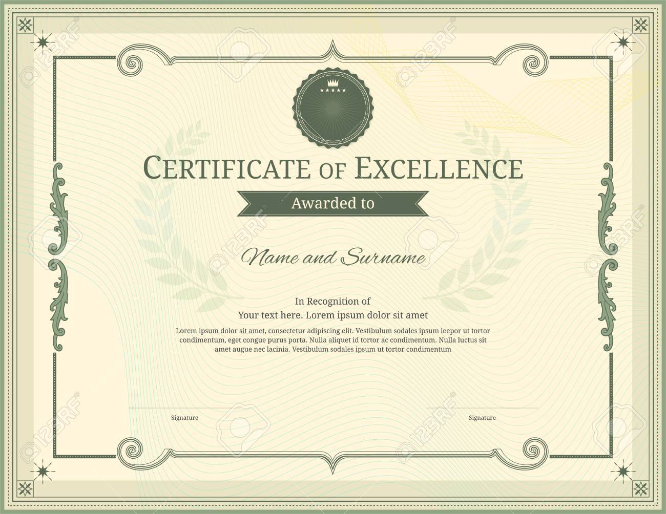 Luxury certificate template with elegant border frame diploma luxury certificate template with elegant border frame diploma design for graduation or completion stock vector yadclub Choice Image