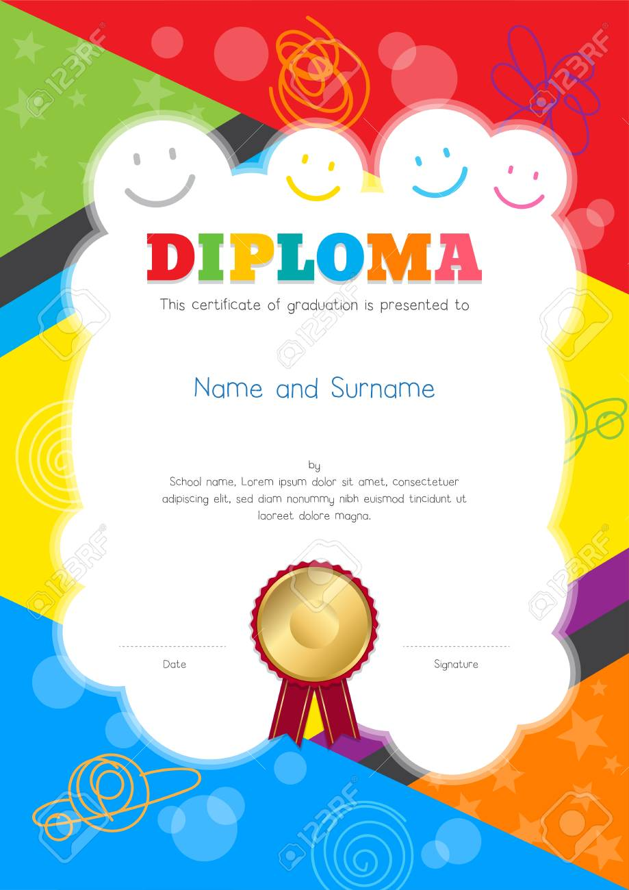 Kids Diploma or certificate template with colorful and hand drawing background border - 94457809