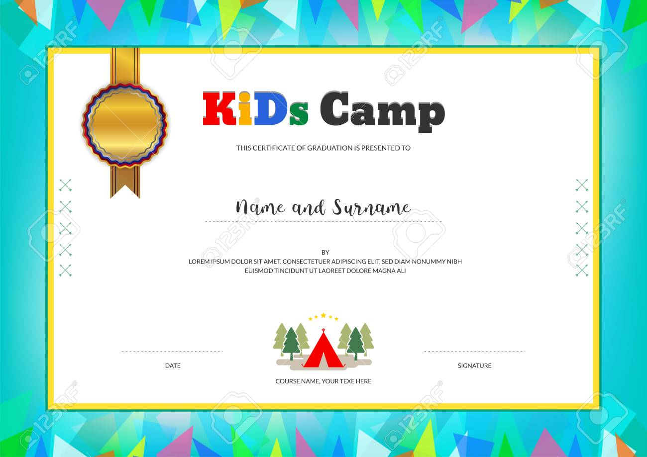 Kids Summer Camp Diploma Or Certificate Template With Colorful