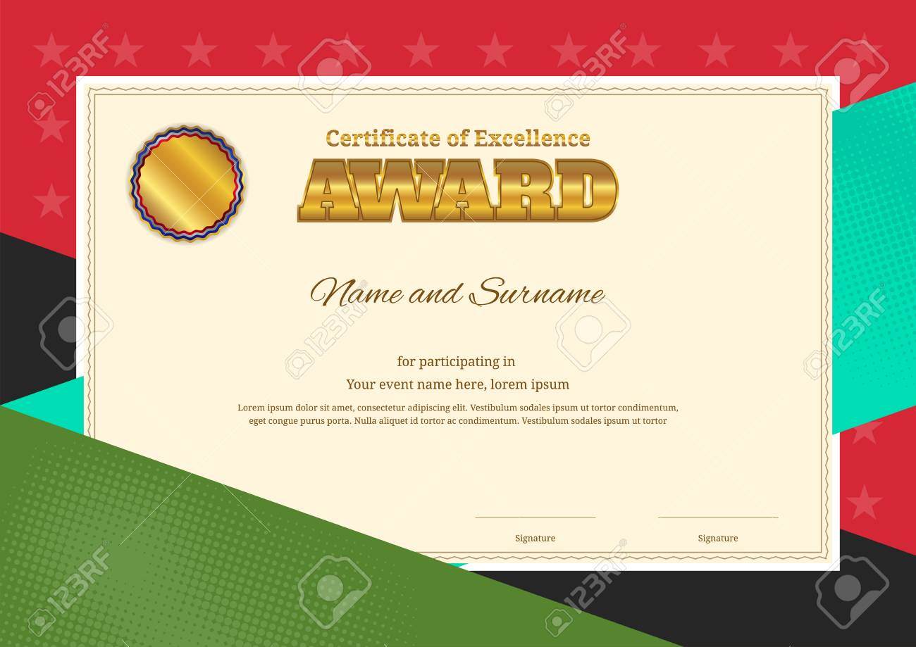 Modern Award Certificate Template With Colorful Border Frame