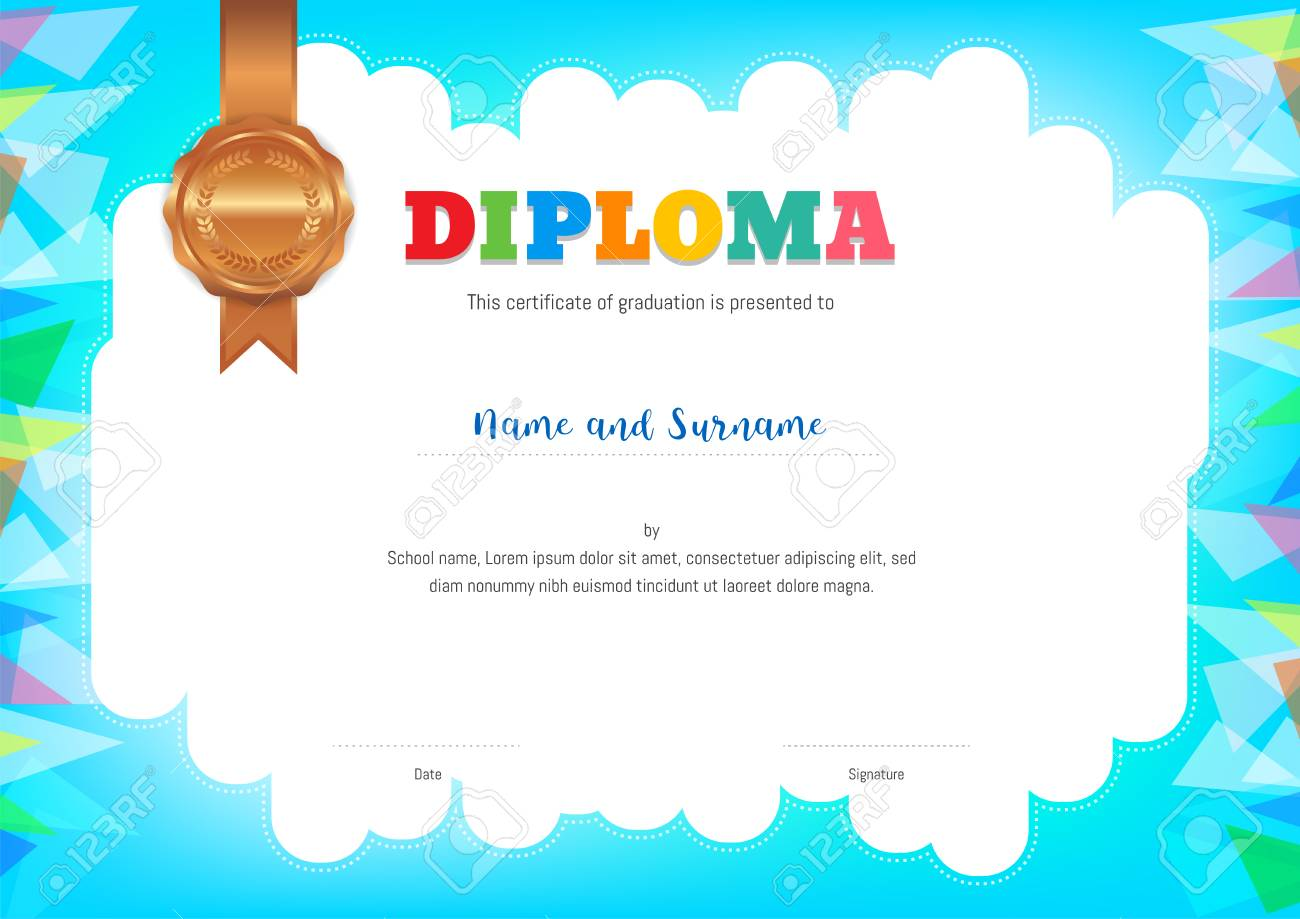 Kids Diploma Or Certificate Template With Colorful Background ...