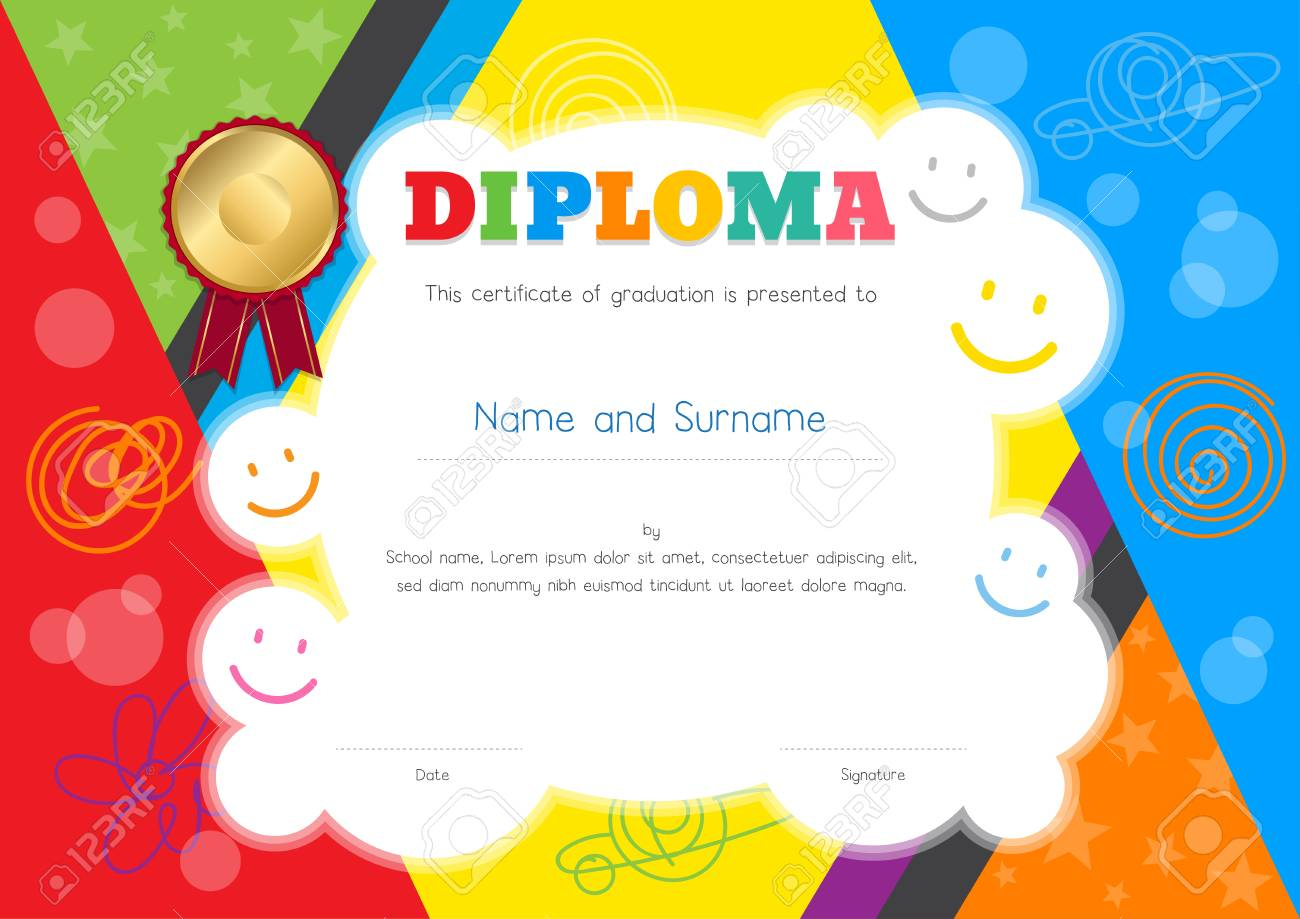 Kids Diploma or certificate template with colorful and hand drawing background border - 95372451