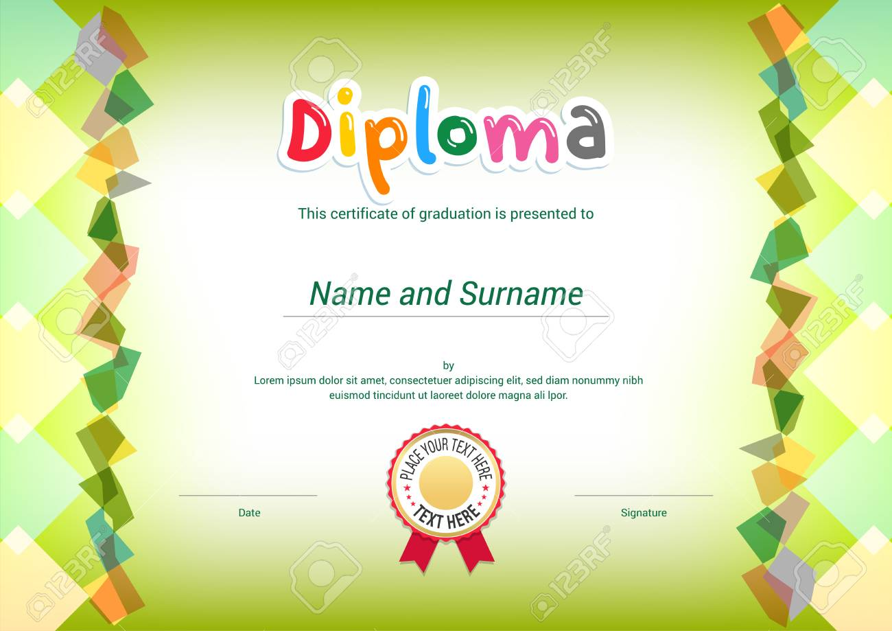 Kids Diploma Or Certificate Template With Green Themel Background