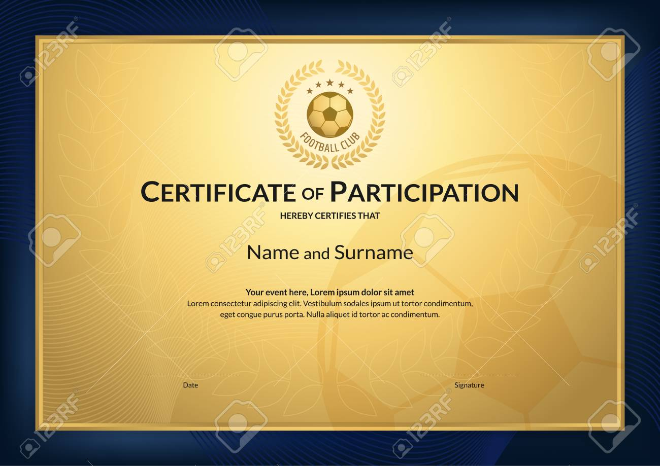Certificate Template In Football Sport Theme With Gold Background