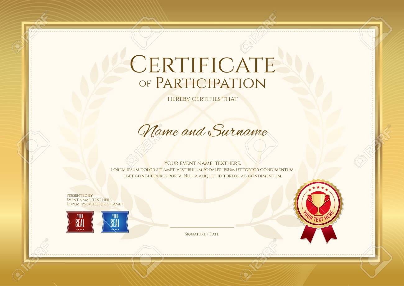 Certificate template in basketball sport theme with sport color.