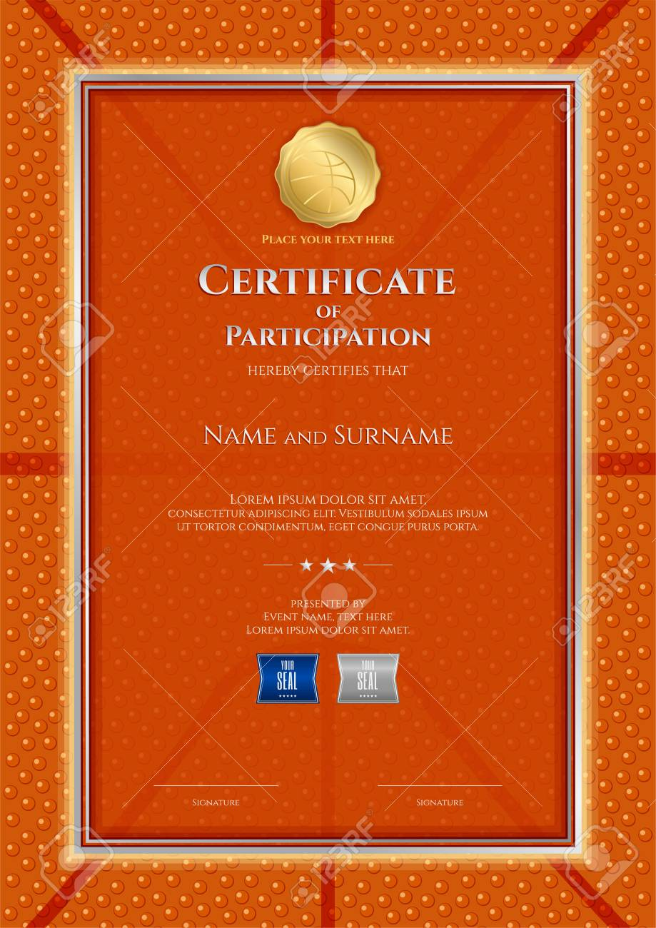 Certificate template basketball sport theme ball background border.