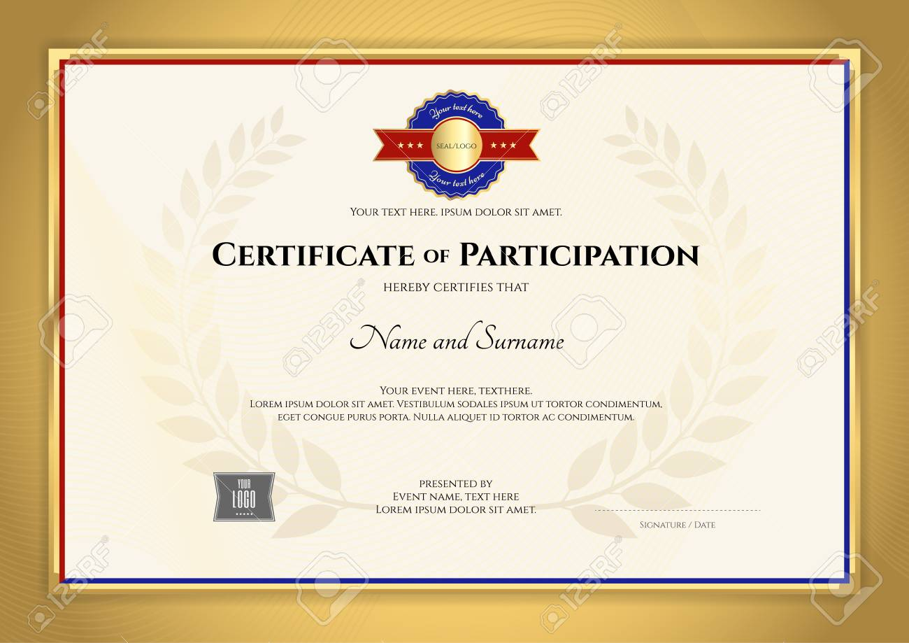 certificate template inl sport theme with gold border frame