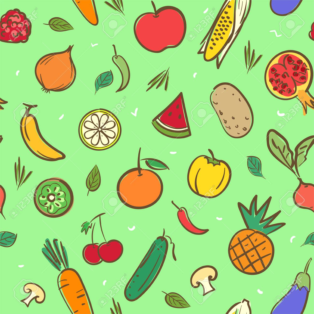 Cute Mix Fruits And Vegetables Seamless Pattern Background Vector