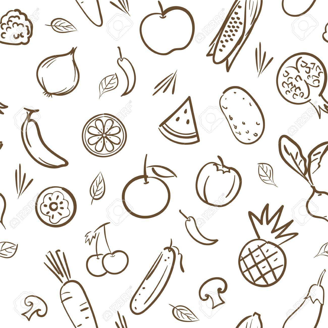 Sketch Of Cute Mix Fruits And Vegetables Seamless Pattern Background