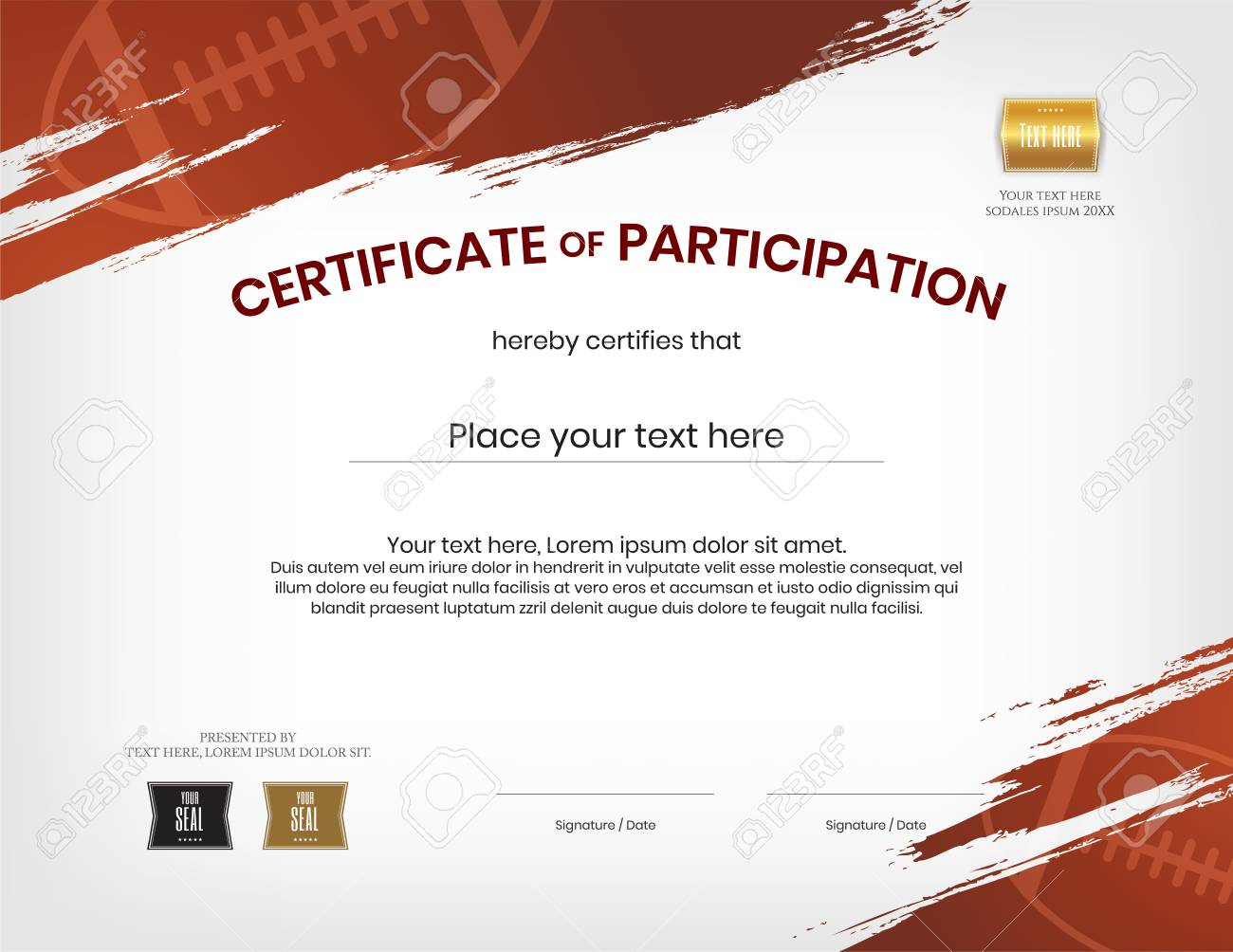 certificate template in rugby sport theme with border frame