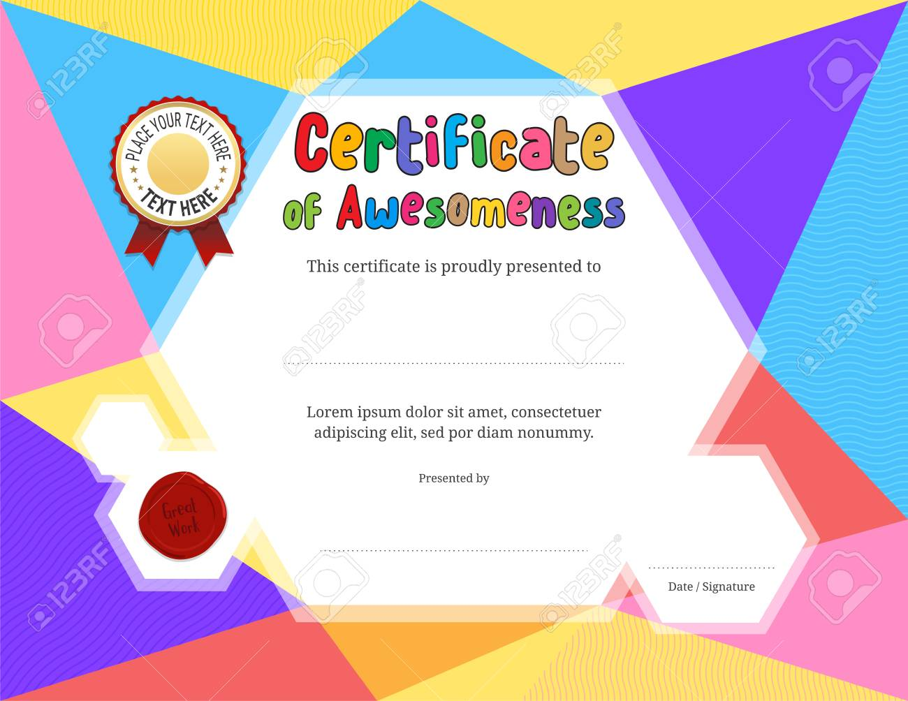 Kids Diploma Or Certificate Template With Colorful Background Regarding Free Printable Certificate Templates For Kids