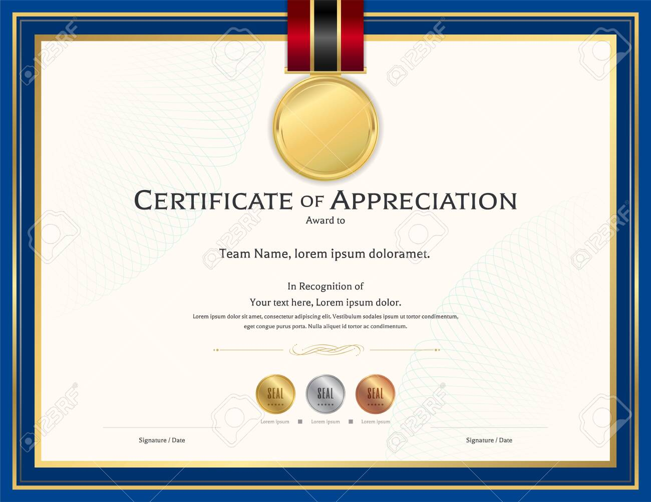 Luxury certificate template with elegant border frame, Diploma design for graduation or completion - 143411715