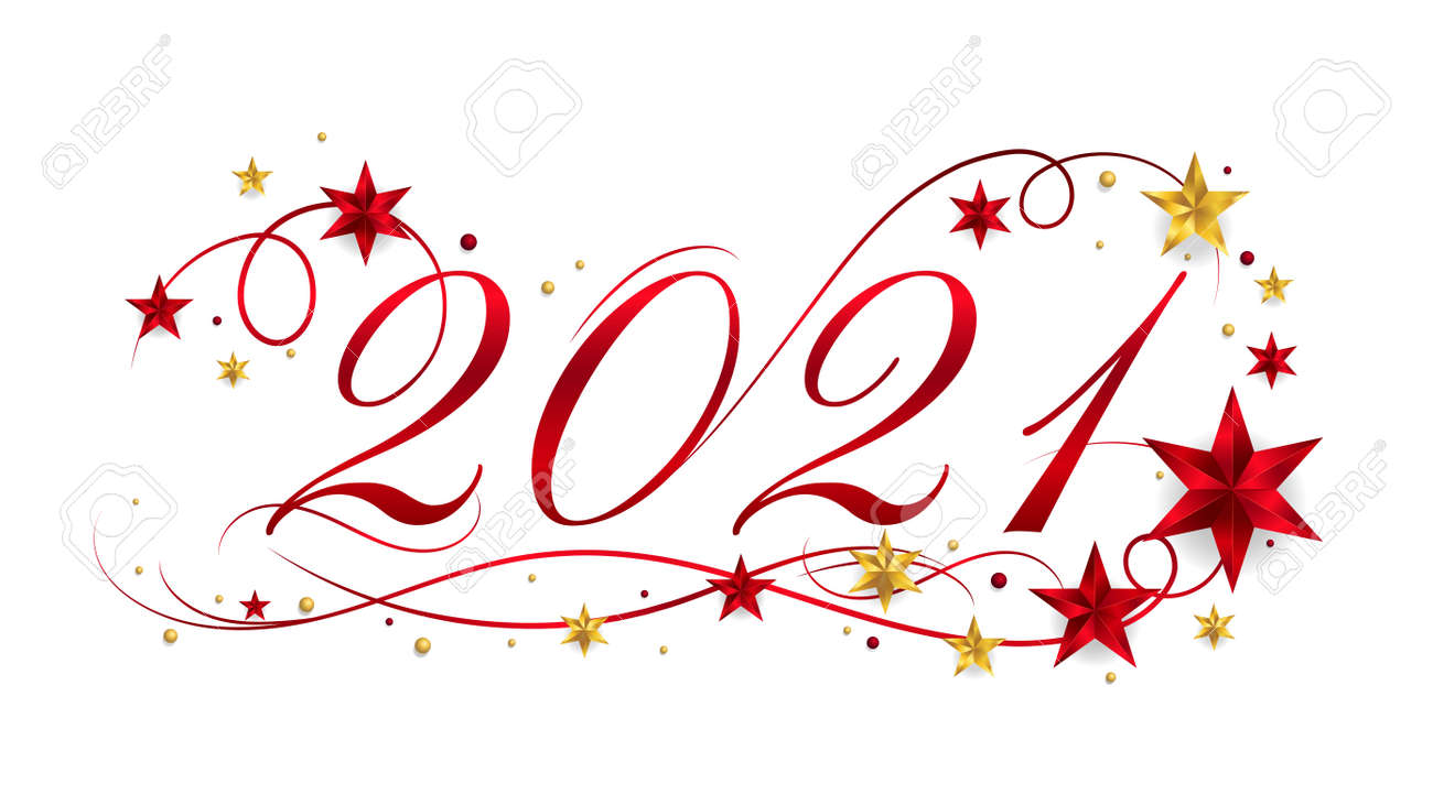 2021 Happy New Year lettering banner design with ornament for new year celebration - 158547286