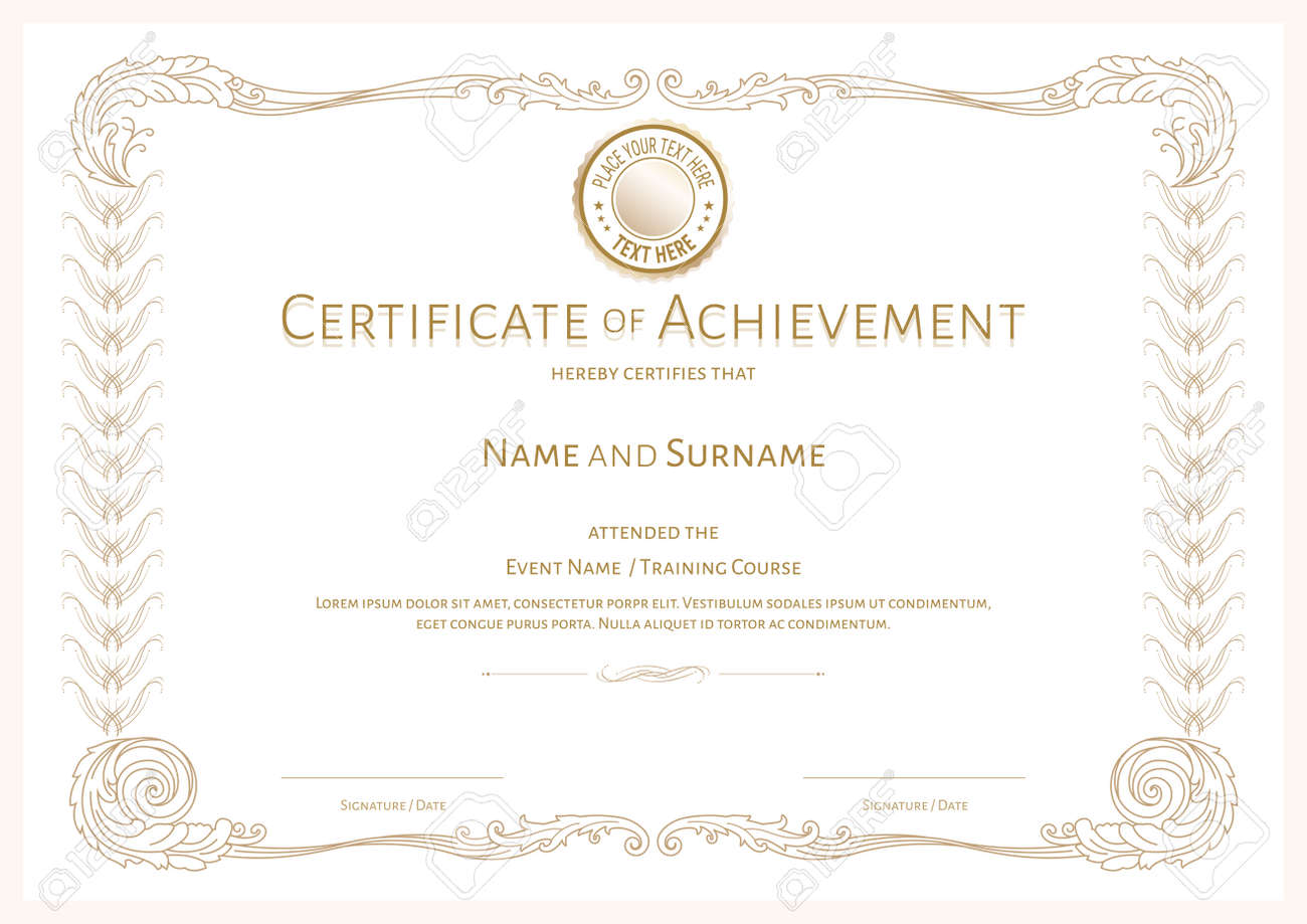 Luxury certificate template with elegant border frame, Diploma design for graduation or completion - 158547287