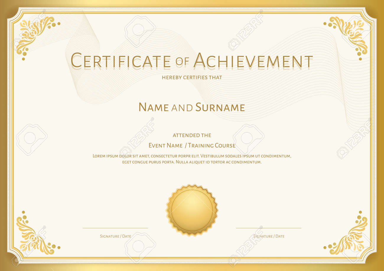Luxury certificate template with elegant border frame, Diploma design for graduation or completion - 158547285