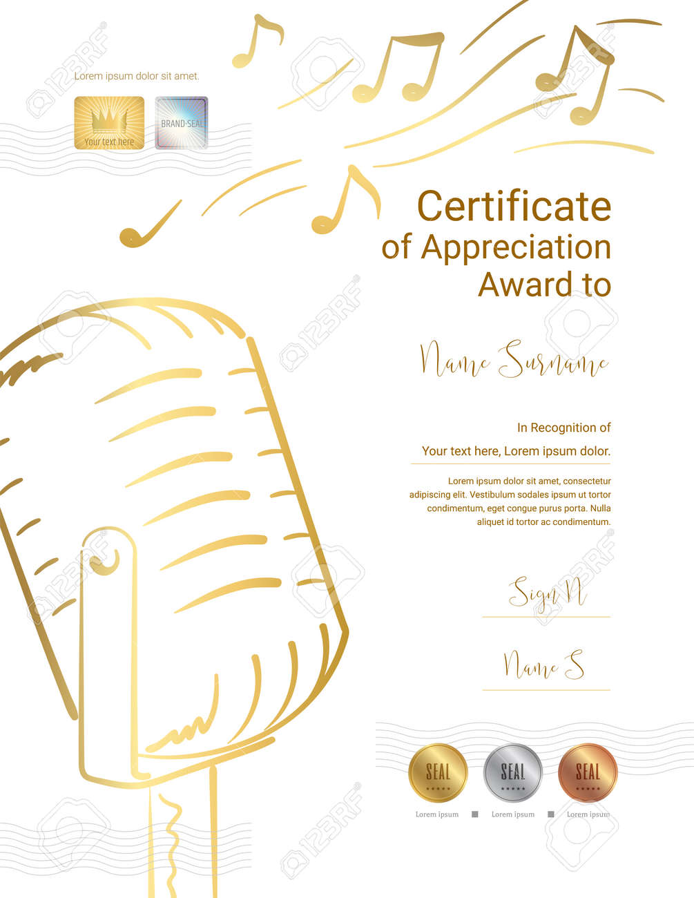 Luxury certificate template for singing, song or music event, Diploma design for graduation or completion - 158465014