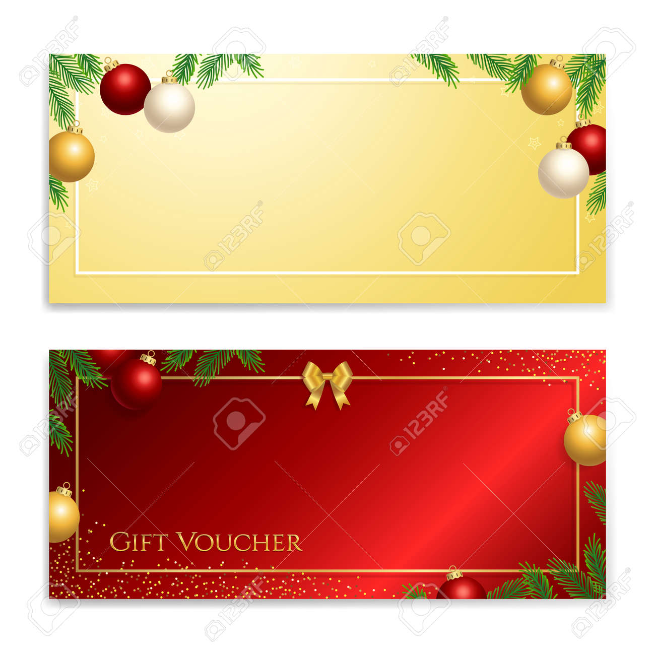 Christmas and new year gift certificate, voucher, gift card or cash coupon template in vector format - 160158681