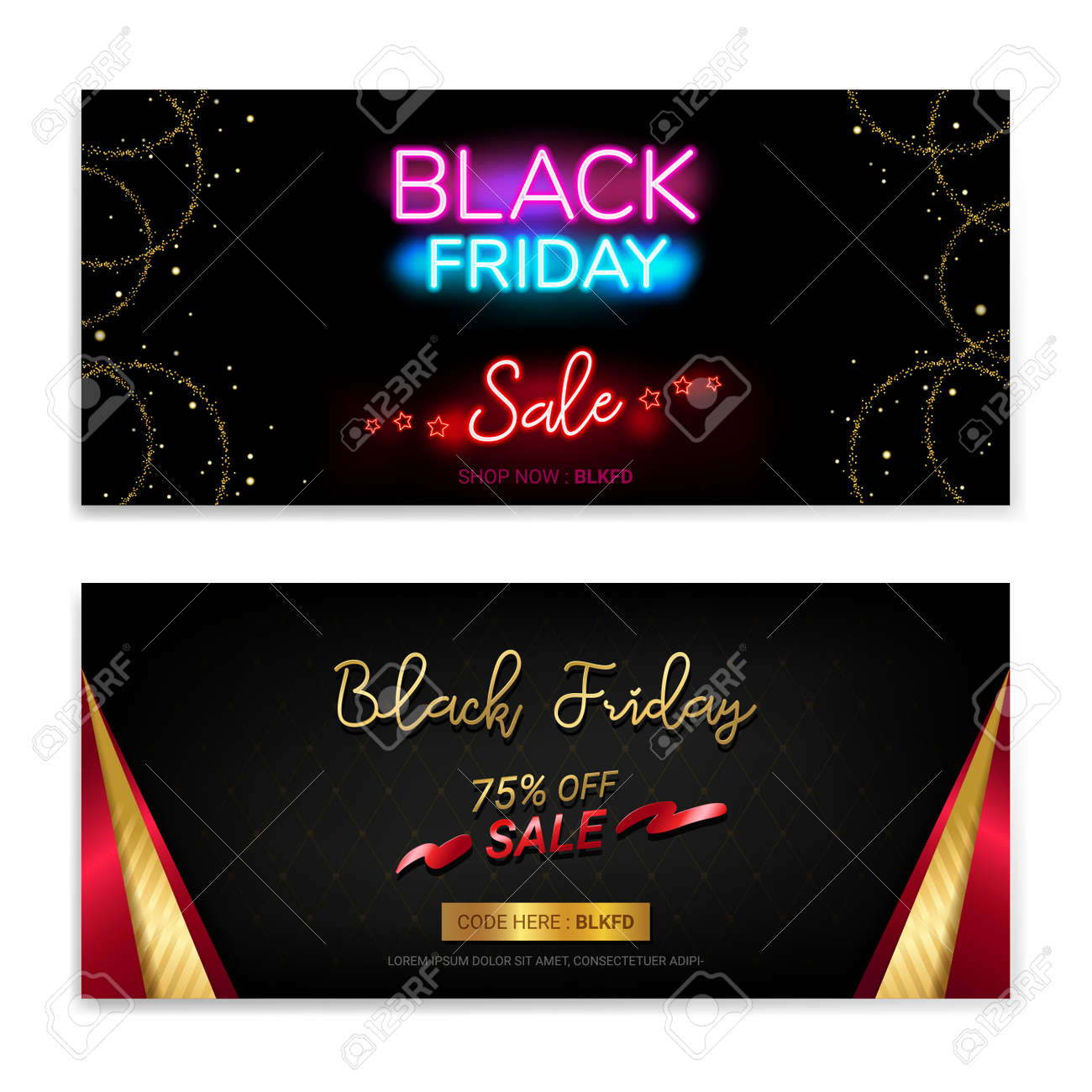 Black Friday Sales gift voucher or banner background in neon theme - 160158682