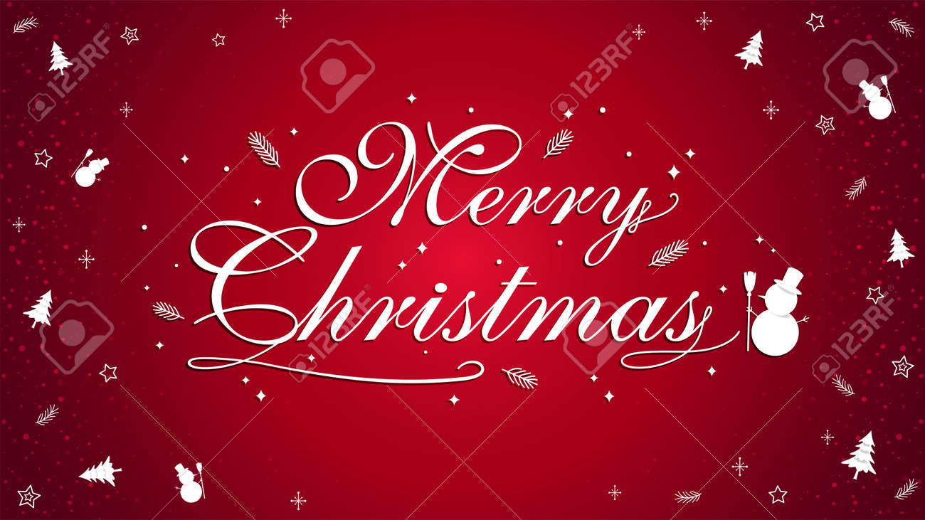 Merry Christmas banner poster template with festive elements border; snowman, pine tree - 160158684