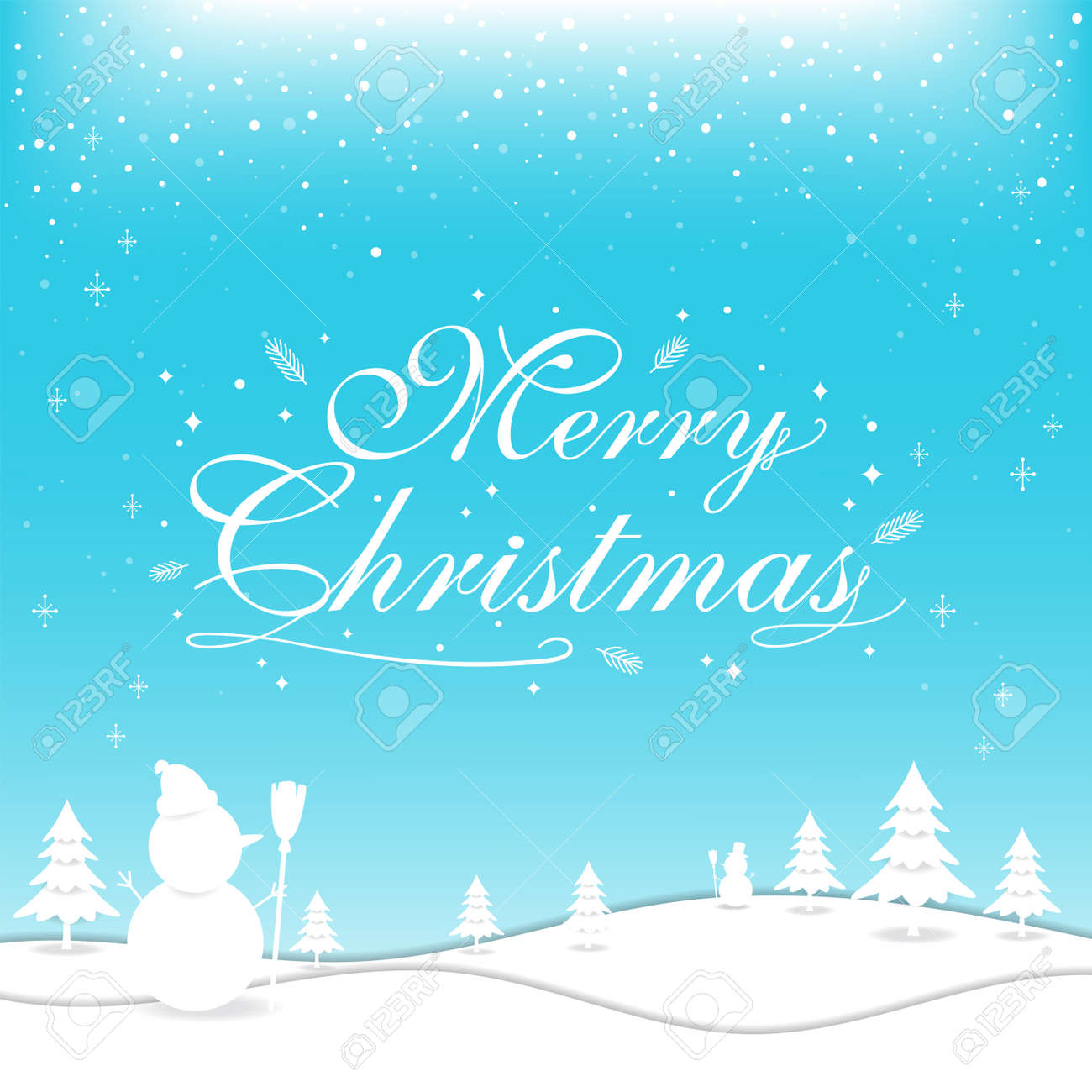 Merry Christmas banner poster template with festive elements; snowman, pine tree - 160158686