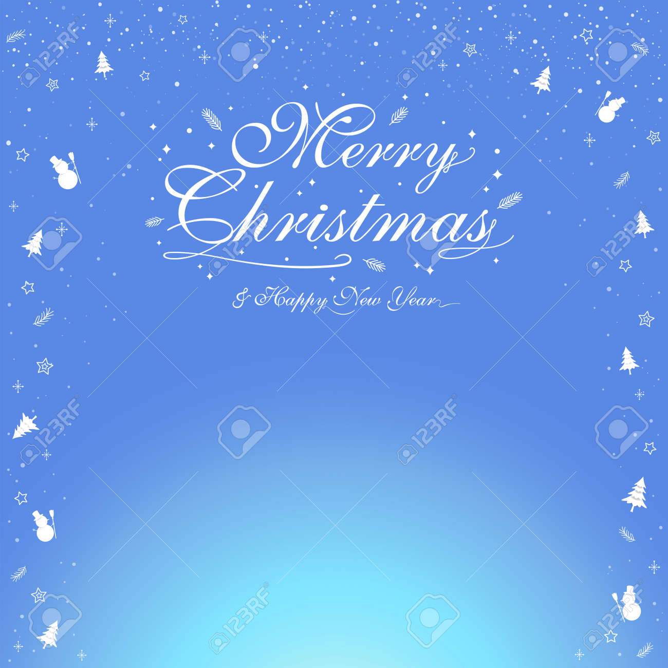 Merry Christmas banner poster template with festive elements border; snowman, pine tree - 160158687