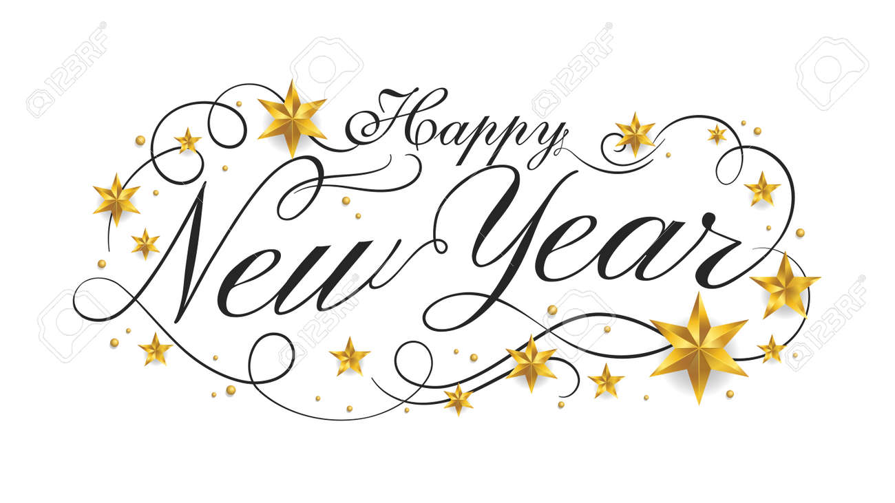 Happy New Year lettering banner design with ornament for new year celebration - 160896384