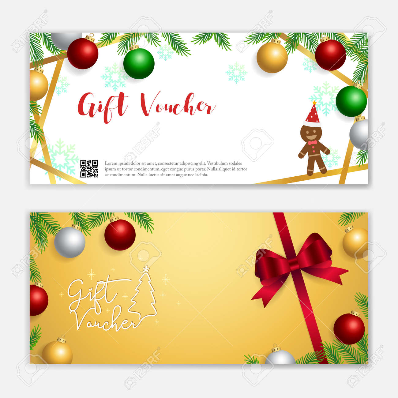 Christmas and new year gift certificate, voucher, gift card or cash coupon template with xmas ornament in vector format - 160915498