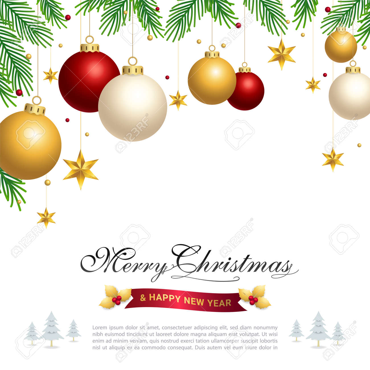 Merry Christmas banner poster or backdrop template with festive elements border - 160915502