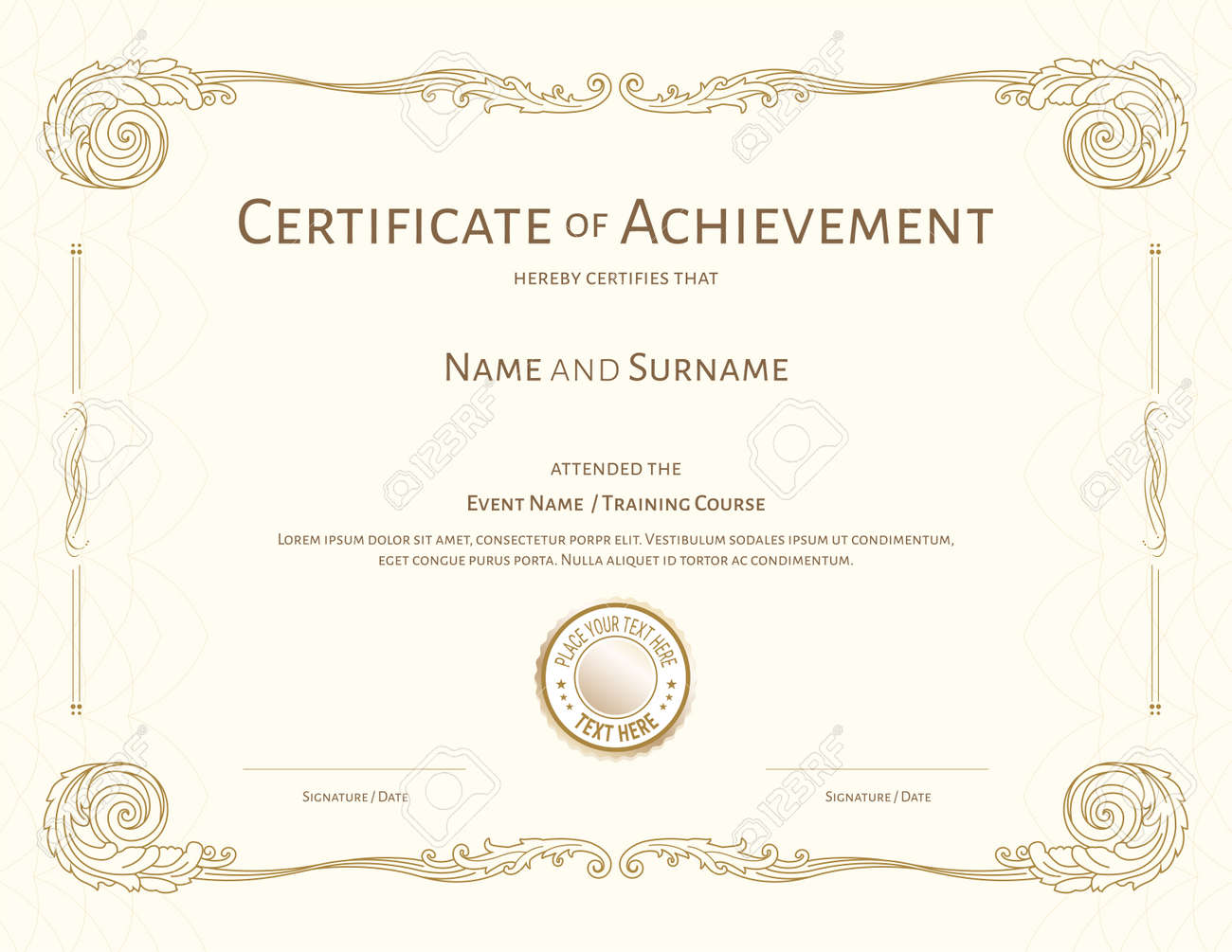 Luxury certificate template with elegant border frame, Diploma design for graduation or completion - 165443837