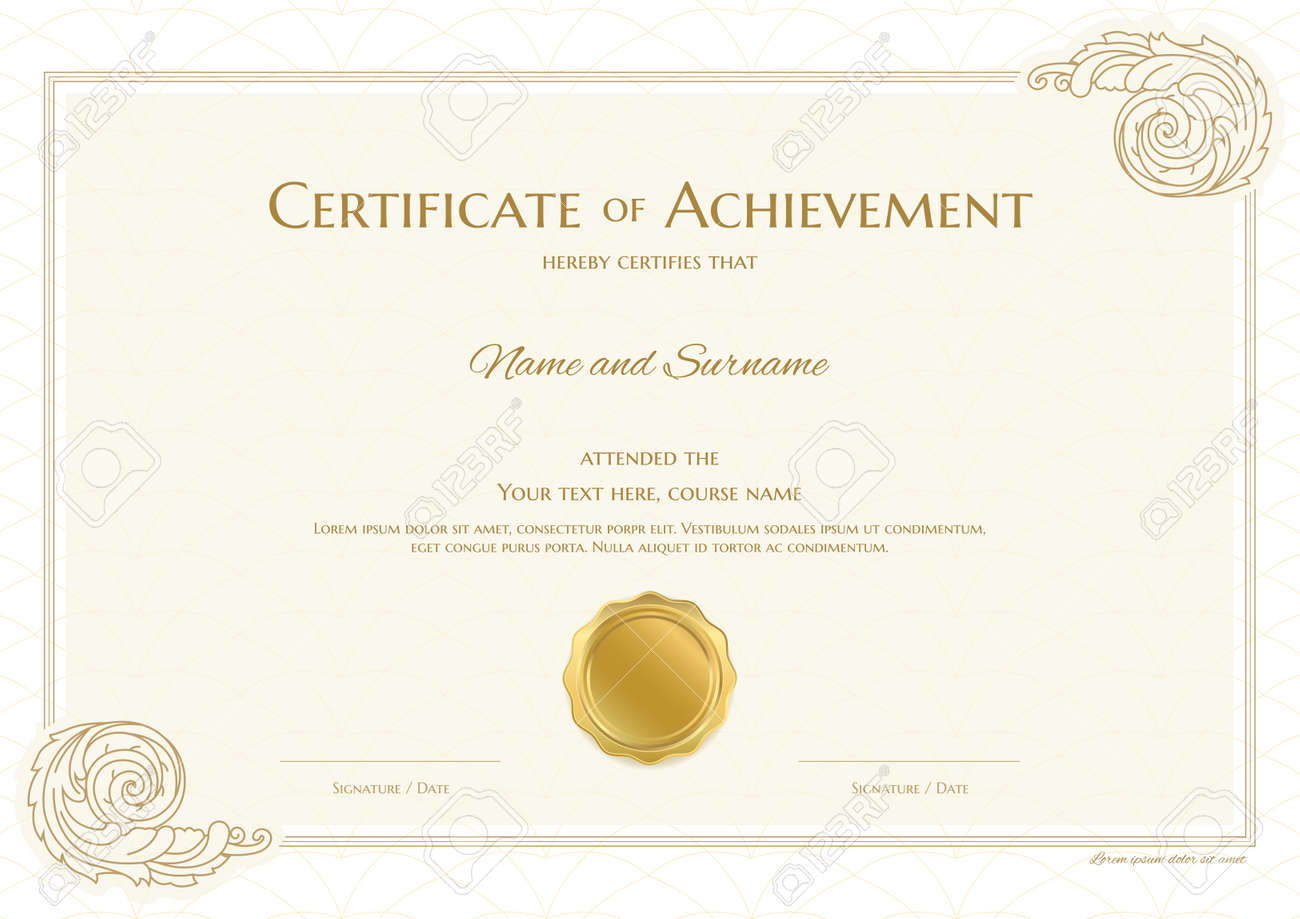 Luxury certificate template with elegant border frame, Diploma design for graduation or completion - 165443838