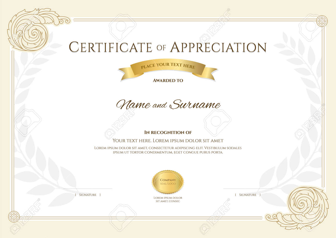 Luxury certificate template with elegant border frame, Diploma design for graduation or completion - 165443839